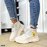 Черные, бежевые, белые! Стильные высокие кроссовки женские, фото 9