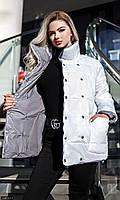 Куртка двусторонняя женская молодежная большого размера 334001-1 белый