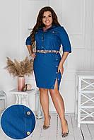 Стильное модное женское джинсвое платье больших размеров