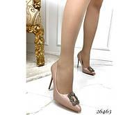 Туфли лодочки женские демисезонные на шпильке бежевые, фото 1