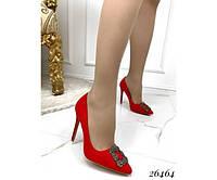 Туфли лодочки женские демисезонные на шпильке красные, фото 1