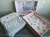 Комплект постельного белья Do&Co Mint с тонким хлопковым покрывалом, Турция
