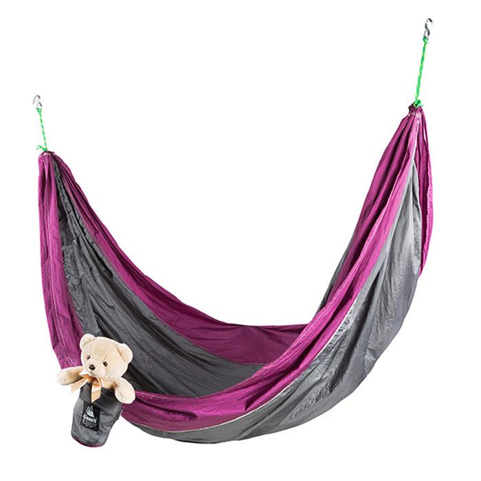 Гамак GreenCamp Voyage 300*200 см, парашютный шелк, серый/вишневый