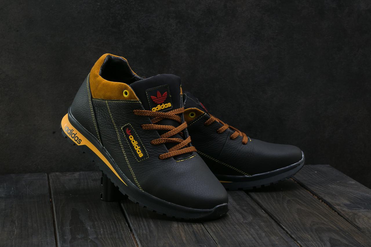 Мужские кроссовки кожаные зимние черные-рыжие CrosSAV 39