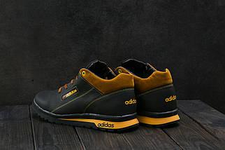 Мужские кроссовки кожаные зимние черные-рыжие CrosSAV 39, фото 3