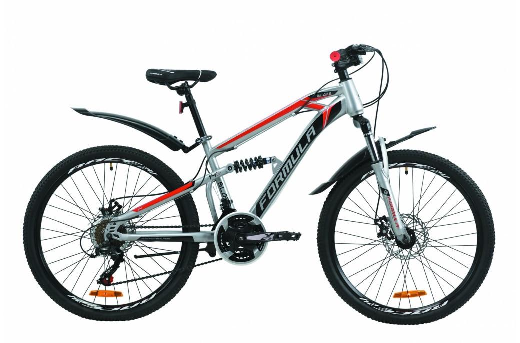 """Велосипед двухподвесной 24"""" Formula Blaze DD 2020 стальная рама 14"""" серо-черный с красным"""