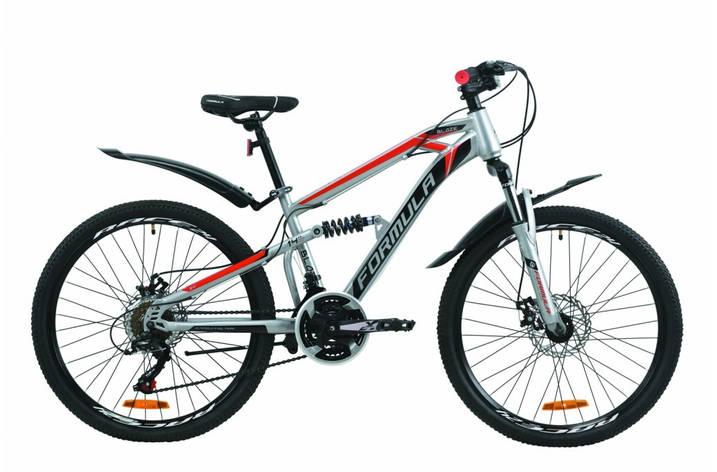 """Велосипед двухподвесной 24"""" Formula Blaze DD 2020 стальная рама 14"""" серо-черный с красным, фото 2"""