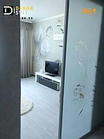Межкомнатные раздвижные двери  - наполнение матовое стекло с объемным рисунком