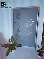 Межкомнатная раздвижная дверь перегородка - объемный пескоструй с совпадением рисунка