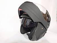 Мотошлем jiekai трансформер с очками, черный матовый