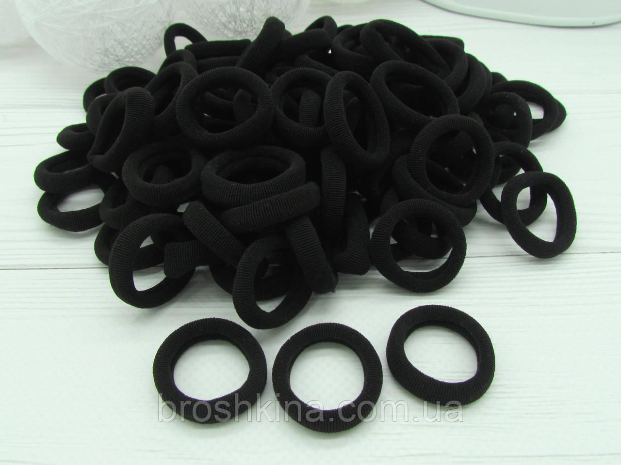 Гумки для волосся мікрофібра Ø2.5 см чорні, 100 шт/уп
