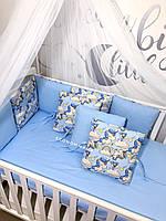 """Комплект в детскую кроватку """"Волшебные единороги""""(бортики на три стороны, простынь)"""