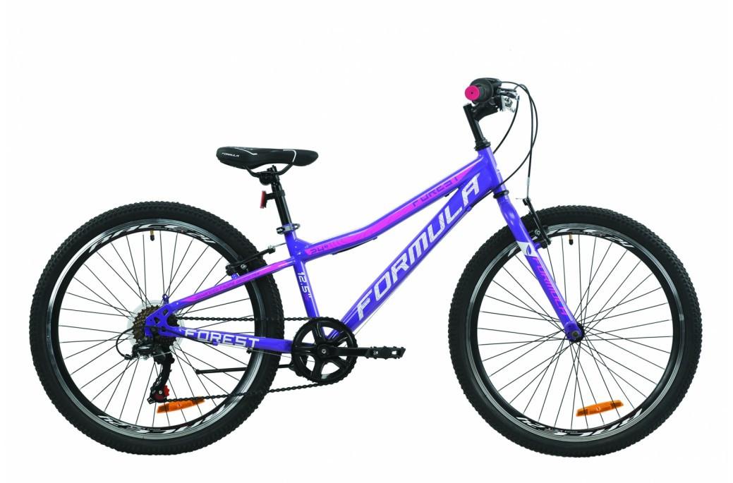 """Велосипед подростковый 24"""" Formula Forest Vbr 2020 рама 12.5"""" фиолетово-белый с малиновым"""