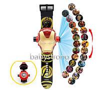 Проекционные детские часы Железный Человек - 24 вида изображения героев Марвел - Мстители .Projector Watch.