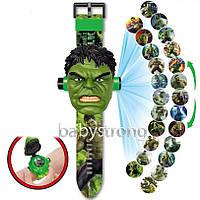 Проекционные детские часы Халк - Hulk - 24 вида изображения героев Марвел - Мстители .Projector Watch.