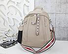 Женский рюкзак-сумка бежевого цвета, из эко кожи, фото 2