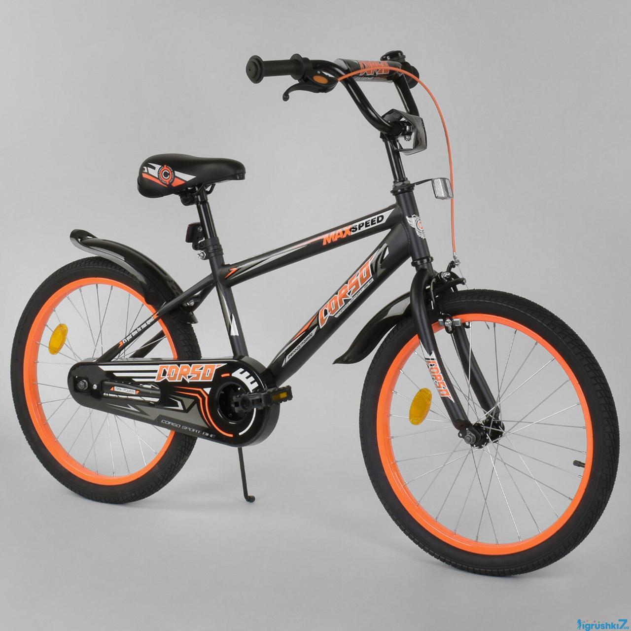 Двухколесный детский велосипед 20 дюймов CORSO EX-20 N 4588 черный