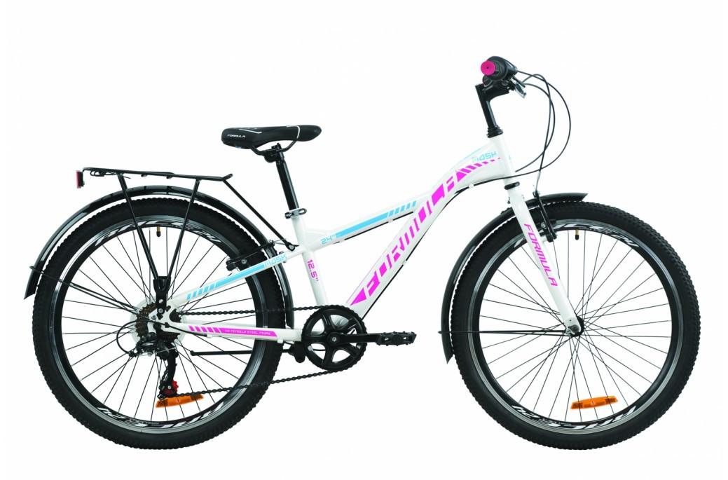 """Велосипед подростковый универсальный 24"""" Formula Mask 2020 стальная рама 12.5"""" бело-голубой с малиновым"""