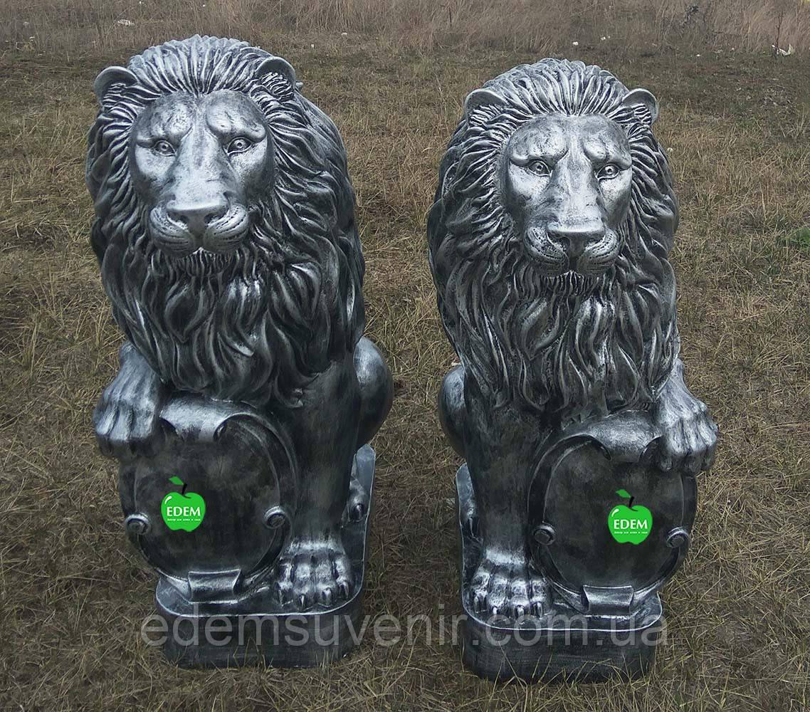 Садовая фигура Львы со щитами серебро большие 83 см