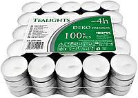 Свечи чайные BISPOL® премиум качества 100 шт х 4 часа горения, декоративные свечки таблетки