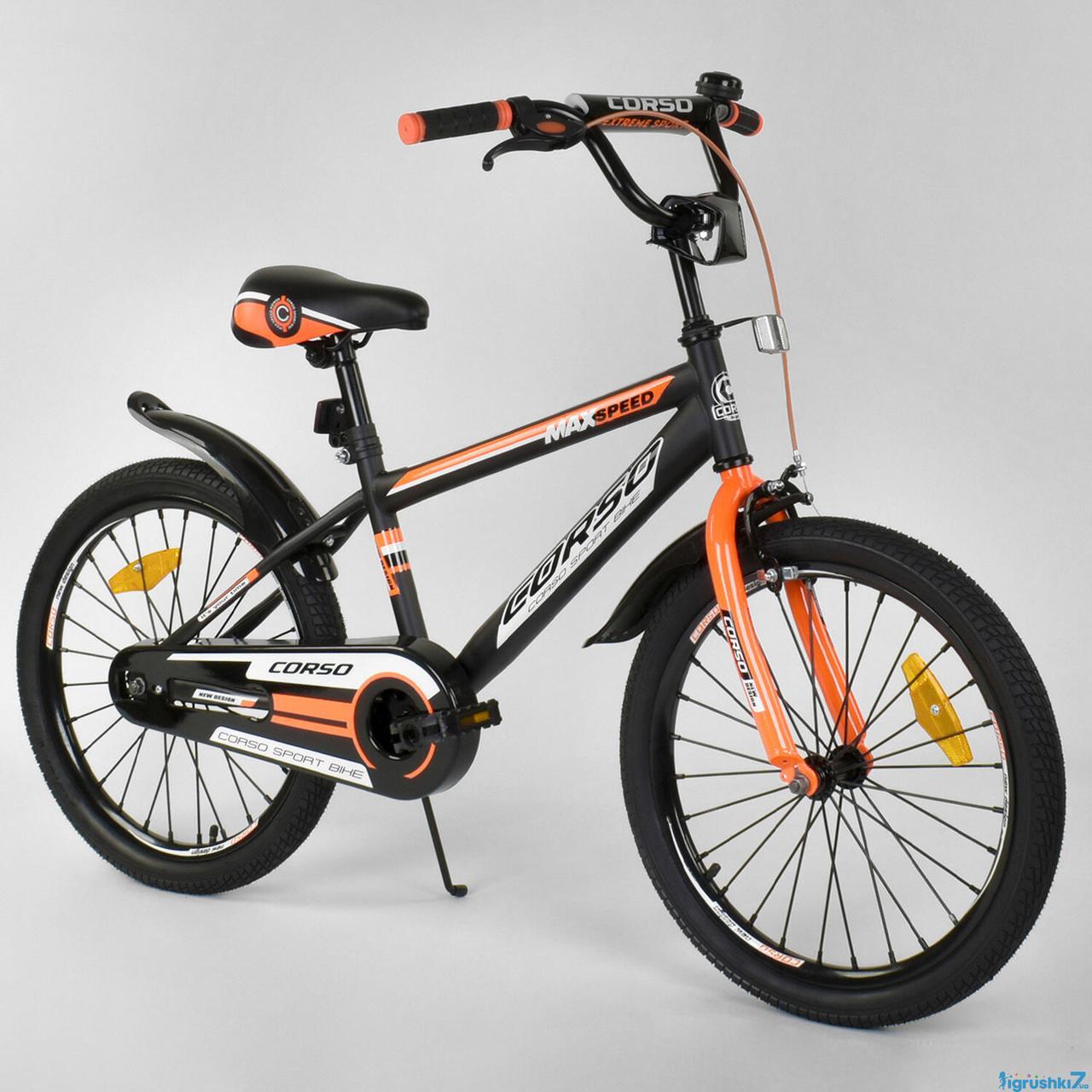 Двоколісний дитячий велосипед 20 дюймів CORSO ST-2904 чорно-помаранчевий