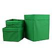 Скринька ( коробка ) для зберігання, 25*35*20 см, (спанбонд), з відворотом (зелений), фото 3