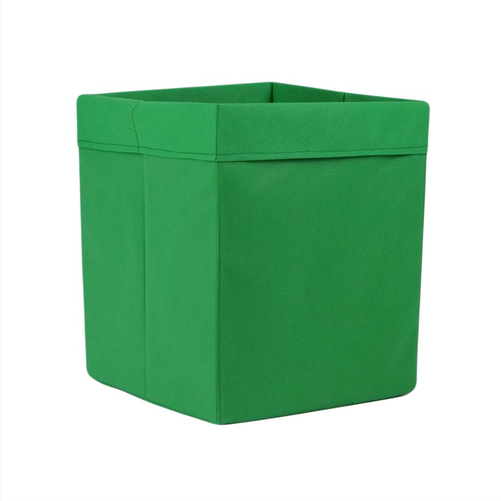 Скринька ( коробка ) для зберігання, 25*25*30 см, (спанбонд), з відворотом (зелений)