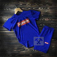 Летний спортивный костюм Суприм синего цвета XS