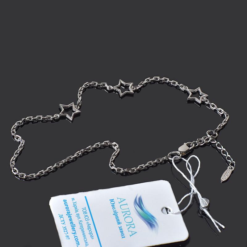 Серебряный браслет на руку 3 звездочки Aurora 17-20 см