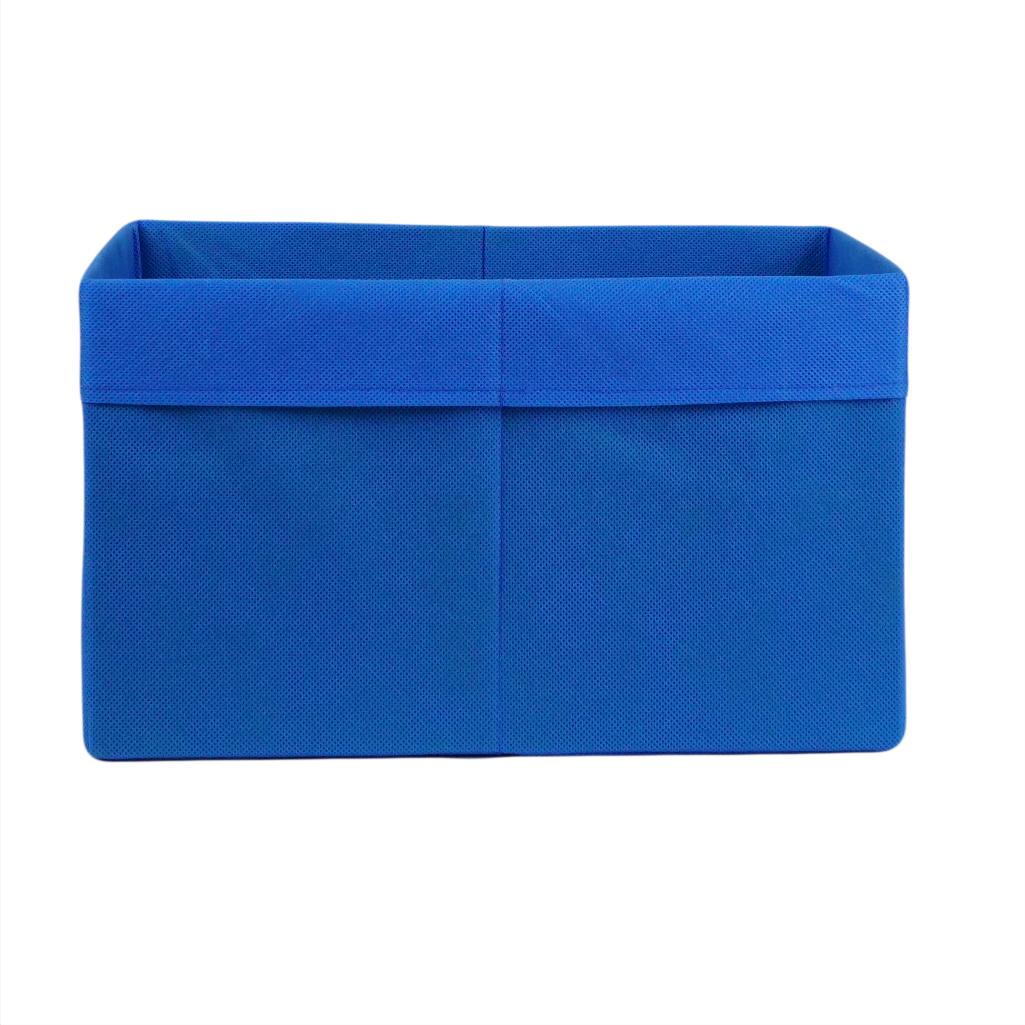 Ящик ( коробка) для хранения, 25 * 35 * 20см, (спанбонд), с отворотом (синий)