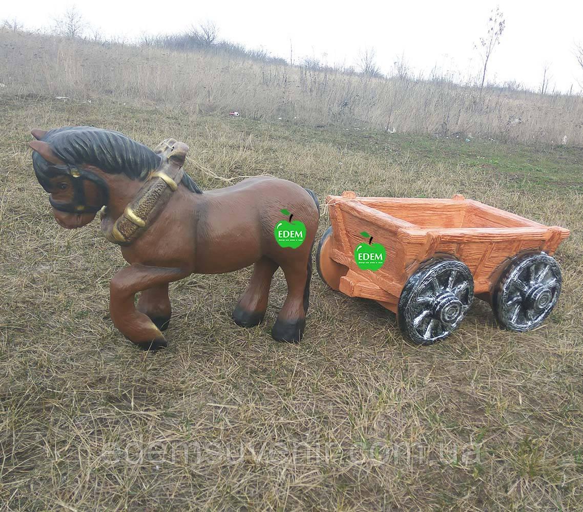 Садовая фигура подставка для цветов Лошадка с телегой