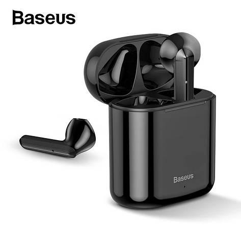 Бездротові навушники гарнітура з мікрофоном Baseus Encok W09 TWS Black, фото 2
