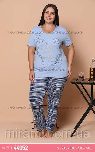 Женские пижамы большого размера футболка и брюки