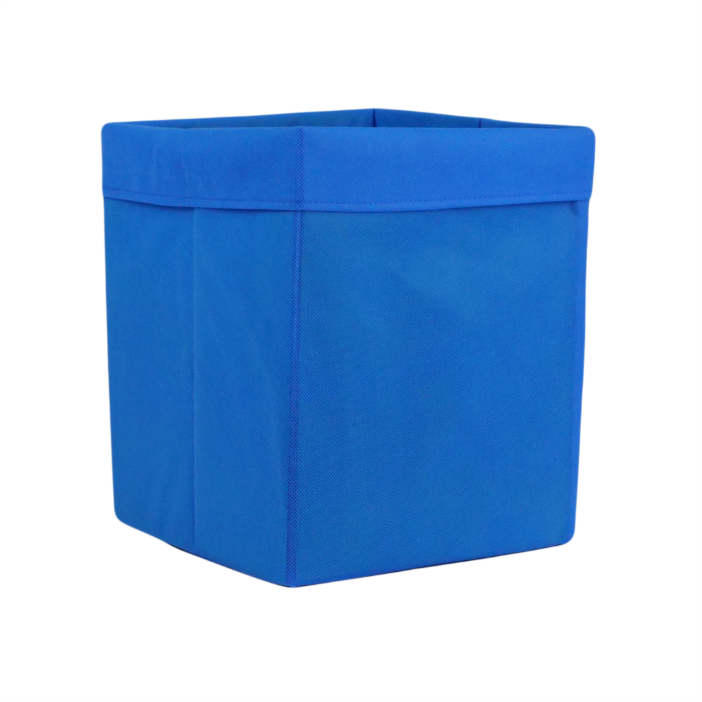 Скринька для зберігання, 25*25*30 см, (спанбонд), з відворотом (синій)