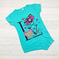 Летняя трикотажная футболка для девочек 6-9 лет