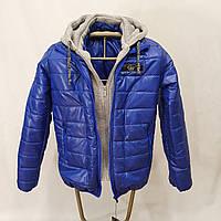 Яркая подростковая куртка на мальчика подростка с трикотажным капюшоном, Электрик, р-ры 140-170, мод.Леон
