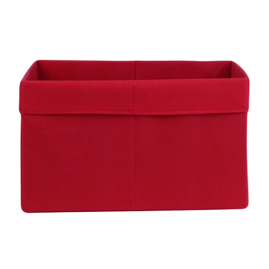Ящик ( коробка) для хранения, 25 * 35 * 20см, (спанбонд), с отворотом (красный)