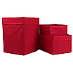 Ящик ( коробка) для хранения, 25 * 35 * 20см, (спанбонд), с отворотом (красный), фото 4
