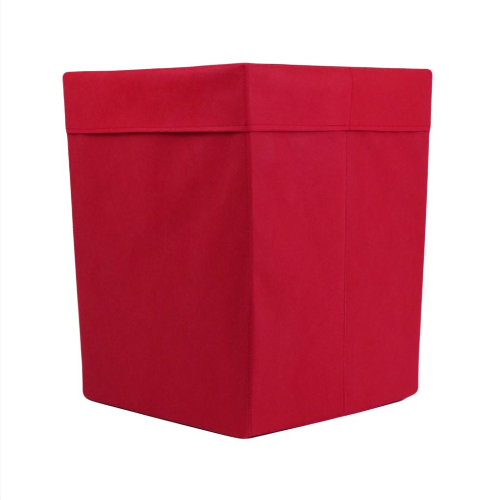 Ящик (коробка) для хранения, 25*25*30см, (спанбонд), с отворотом (красный)