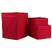 Скринька ( коробка ) для зберігання, 25*25*30 см, (спанбонд), з відворотом (червоний), фото 3