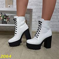 Ботинки трактора на широком каблуке с платформой белые на шнуровке, фото 1