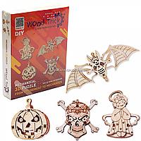 Деревянный конструктор Wood Trick мини-3D пазлов №2 (летучая мышь, тыква, череп, ангел), фото 1