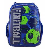Школьный ранец 1 Вересня H-12 Football для мальчика 38х29х15 см Синий (555946)