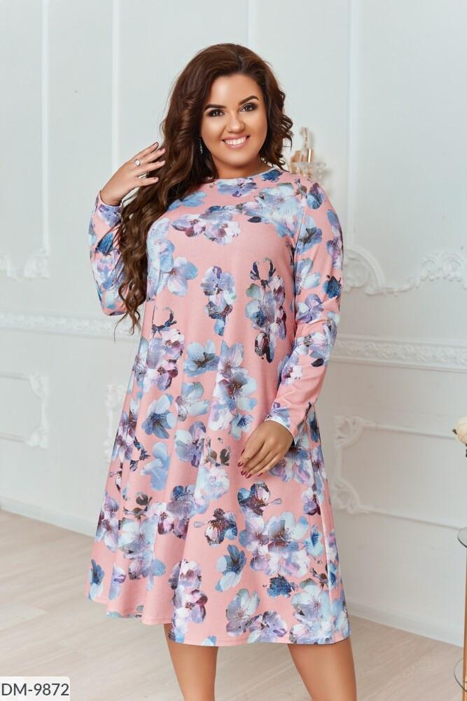 Трикотажное платье с люрексом в большом размере  Размеры: 48-50, 52-54, 56-58, 60-62