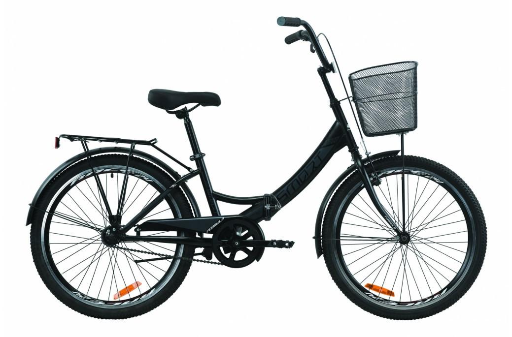 """Велосипед складний 24"""" Formula Smart Vbr з багажником,кошиком St 2020 рама 15"""" чорно-сірий з білим"""