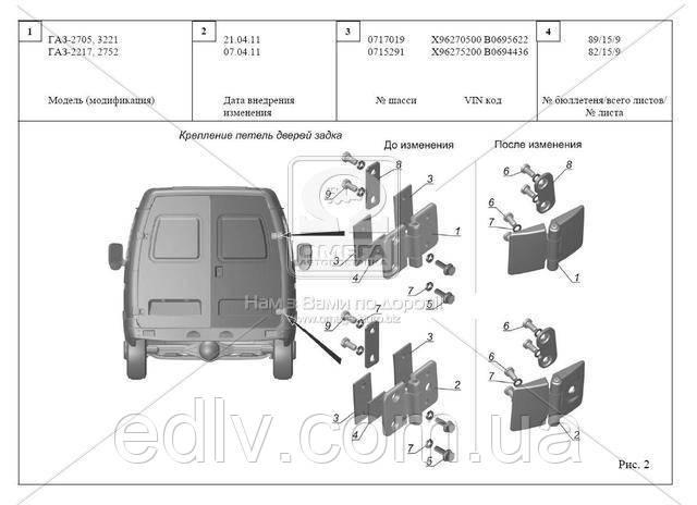 Дверь задка ГАЗ 2705,3221 без окна правая нов.двери+стар.петли (пр-во ГАЗ) 2705-6300014-31