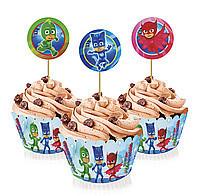 Топпери для капкейків на дитячий день народження Герої в масках 6 кошиків т 6 топперов