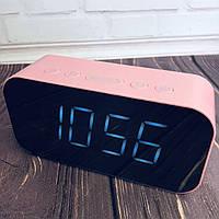 Колонка Bluetooth А65 часы Розовая