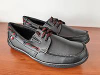 Туфлі мокасини чоловічі чорні на шнурках зручні прошиті (код 1819), фото 1