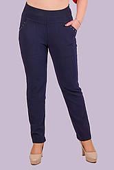 Штани жіночі тонкі зі стразами на кишенях ТЕМНО-СИНІЙ 6XL. Розмір (58-60 )